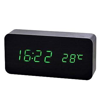 Yunfeng Reloj Despertador LED de Madera Reloj de Madera llevada Despertador Luminoso Pared Reloj Activado por Voz Calendario perpetuo Alarma: Amazon.es: ...