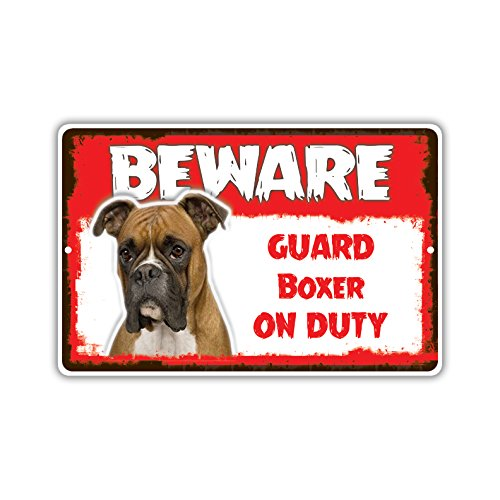 Boxer Lab - Beware Guard Boxer Lab On Duty Novelty Aluminum Metal 8x12 Sign