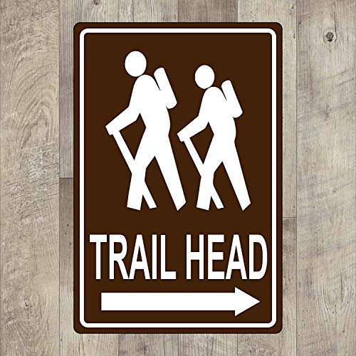 Cutadornsly Metal Street Sign Trailhead Hiking Pet Sign for Yard Garage Driveway House Fence 8 x 12