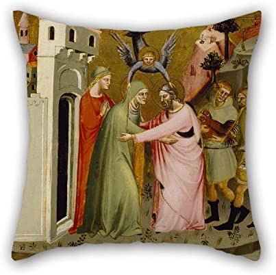 The Meeting Of Anna And Joachim At The Golden Gate Pillowcase 18 X 18 Inches Artistdecor Oil Painting Master Of The Golden Gate 45 By 45 Cm Best Choice For Lounge,Teens Girls,Bench,Study Room,B
