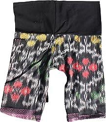 RaanPahMuang Childrens Thailand Wrap Fisherman Pants in Silky Thai Mudmee Fabric, 6-8 Years, Neon Flare