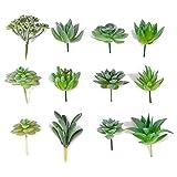 Seehoo Artificial Succulents, 12Pcs Faux Succulents for Fake Succulent Bouquet Floral Arrangement, Flocked Green