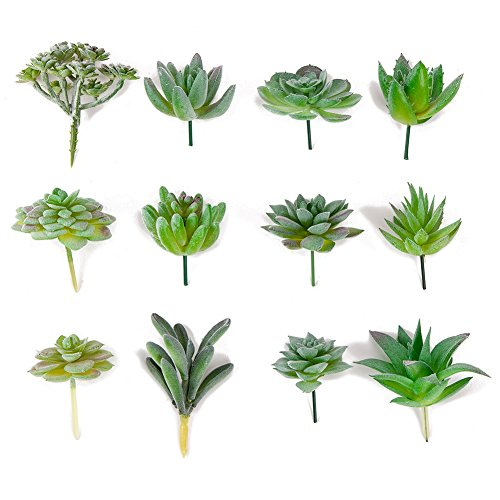 Seehoo Artificial Succulents, 12Pcs Faux Succulents for Fake Succulent Bouquet Floral Arrangement, Flocked Green by Seehoo