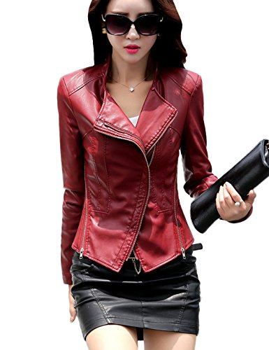 Tanming Women's Short Slim Slant Zip Faux Leather Moto Jacket Multiple Colors (Large, Jujube Red) (Red Jacket Leather Women)
