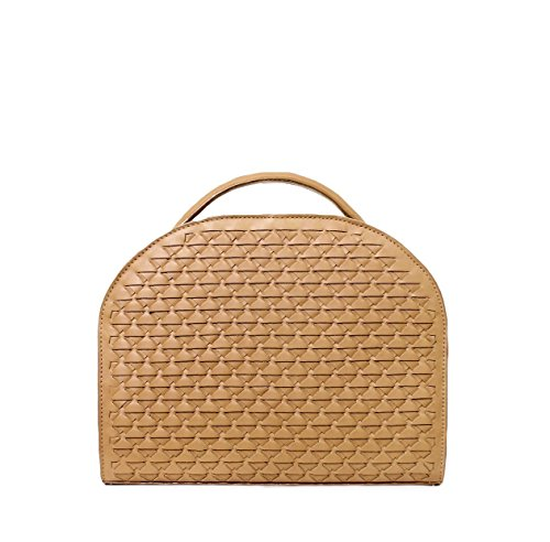 SUN Large Wicker camel, brownleather shoulder handbag | Ivory top handle bag with a signature woven - Bag Timeless Bucket