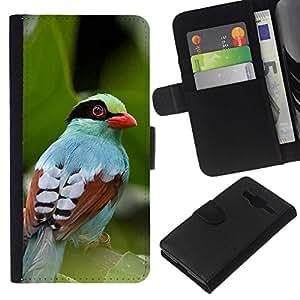 All Phone Most Case / Oferta Especial Cáscara Funda de cuero Monedero Cubierta de proteccion Caso / Wallet Case for Samsung Galaxy Core Prime // deja la naturaleza de verano de aves tropicales