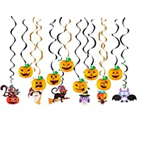 Hoocozi 14 Pieces Halloween Party Hanging Swirl Cards Ceiling Decorations Bats Spider Witches Skull Pumpkin for Haunted House Decoration Halloween Party Decorations
