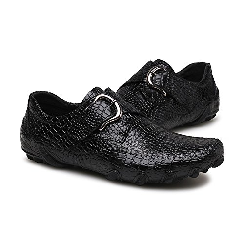 Ocasional para Boat Hombre Crocodile del Color Metal del Jumbo Marrón Yajie el shoes Mocasines Zapatos Negro Hombre 2018 tamaño Estilo EU Buckle Striped Conduce holgazán Que Cuero Genuino Shoes 42 XwxxqOAB