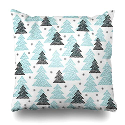 AileenREE Throw Pillow Covers Style Winter Black Blue Fir Trees Snowflakes Mosaic Forest Design Cold Northern Wood in Scandinavian Pillowcase Square Size 20 x 20 Inches Home Decor Cushion Cases