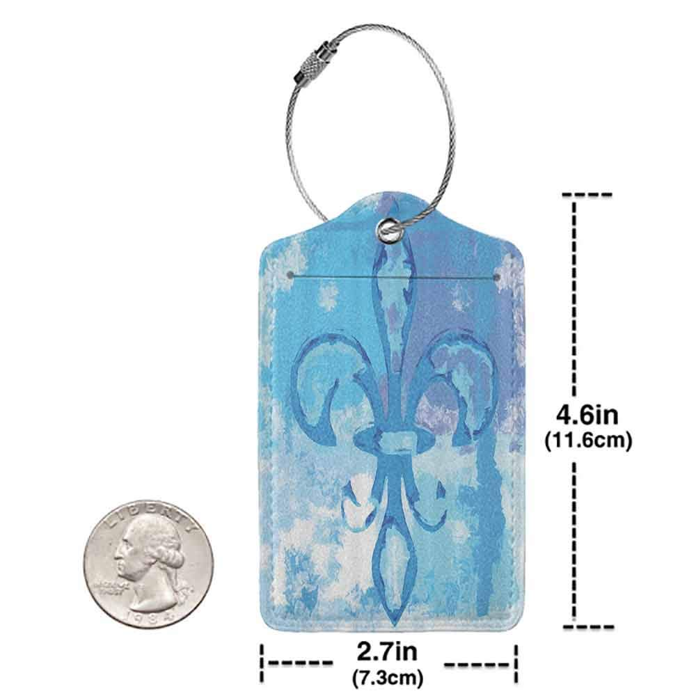 Printed luggage tag Fleur De Lis Decor Illustration of Lily Flower Like Frozen Heredic Nobility Emblem Queenly Style Print Protect personal privacy Blue W2.7 x L4.6