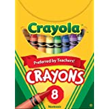 Crayola 8 Crayons, School and Craft Supplies, Gift for Boys and Girls, Kids, Ages 3,4, 5, 6 and Up, Back to school, School supplies, Arts and Crafts,  Gifting