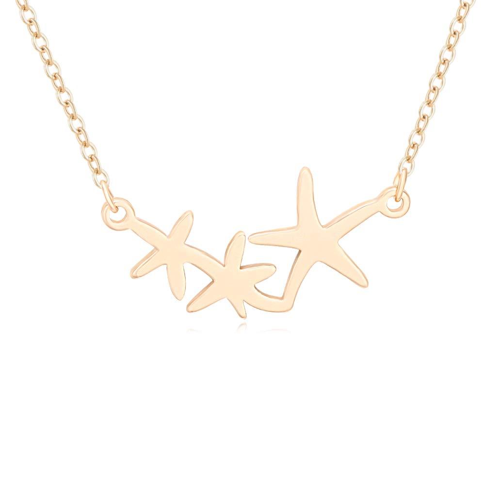 MANZHEN Triple Starfish Nautical Summer Beach Pendant Necklace (Gold)