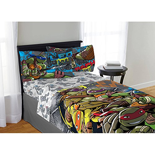 TN 4 Piece Kids Green Teenage Mutant Ninja Turtle Sheet Set Full, Brown Sword Bedding Fictional Movie Bed Sheets Cartoon Themed Adventure Blue Yellow Soft Cozy Modern Comfortable Stylish, Polyester by TN