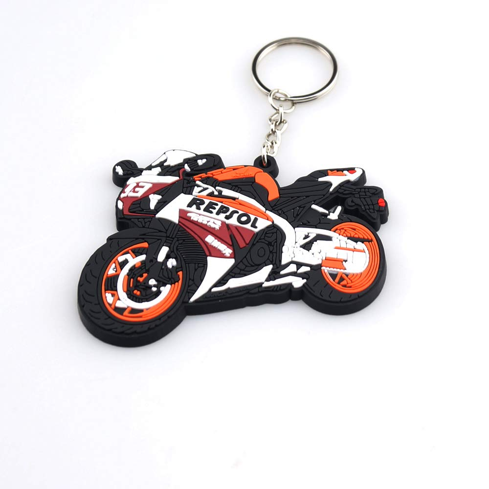 Perfect Decoration Motorcycle Bike Rubber Keychain Motocross For Honda Red