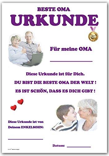 Urkunde – Beste Oma – Danke und Lob für Oma von Enkelsohn: Amazon.de ...