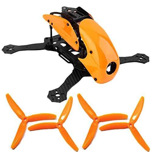 ZMR Model 1PCS Robocat 270 RC 4-Axis Full Carbon Fiber Racing Mini Quad Quadcopter Frame with Hood Cover 2 Pairs 5040 Propeller for FPV Drone Remote Control Aircraft (Orange)