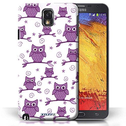 Etui / Coque pour Samsung Galaxy Note 3 / Violet/Blanc conception / Collection de Motif Hibou