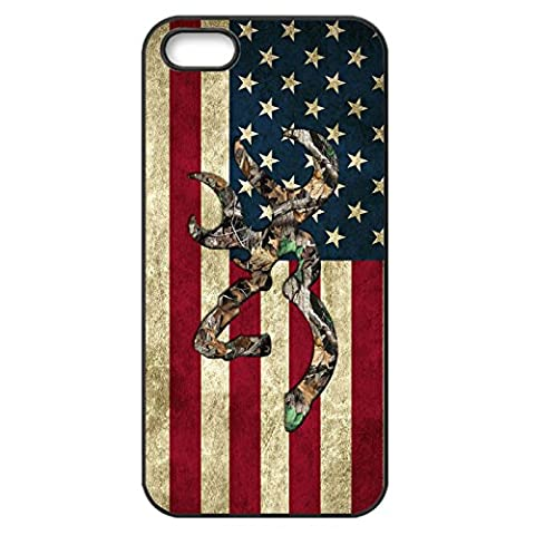 Browning Deer Camo American Flag for Iphone Case (iPhone 5/5s black) (Browning Cell Phone Cases)