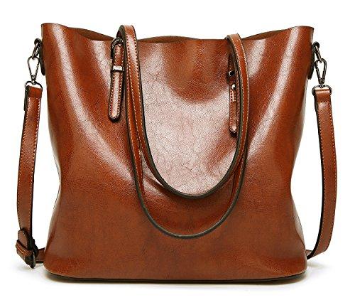 Bolsos Shopper 02 Piel Mujer Bolso Tote DCCN bandolera marrón PU dxBn8qw
