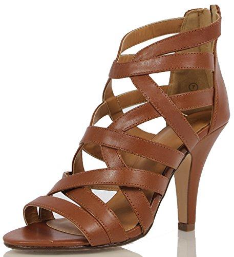 Delicious Women's Shay Faux Leather Criss Cross Single Sole High Heels, Dark Tan, 85 M US