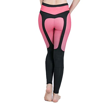 02cfcf7e55416c Amazon.com: High-Waist Laced Legging, Stylish Personality Sling Yoga Pants,  Good Elasticity, Pilates, Running, Sports Tights,Pink,S: Home & Kitchen