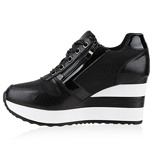 Stiefelparadies Sneakers Basses Femme - Noir - Noir m16H1hMIV4,