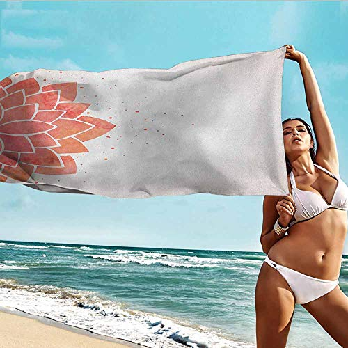 TT.HOME Beach Bath Towel,Lotus Flower Aquarelle Style Half Lily Ayurveda Meditation Theme with Artistic Look,Polyester Fabric Bath Towel,W35x12L, Coral Pale Peach
