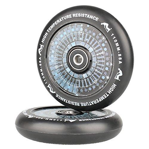 kutrick Complete 2pcs Hollow Coreスクーターホイール100 mmアルミニウムProスクーターホイール交換用ペアとペアabec-9軸受100 mm (2-count)