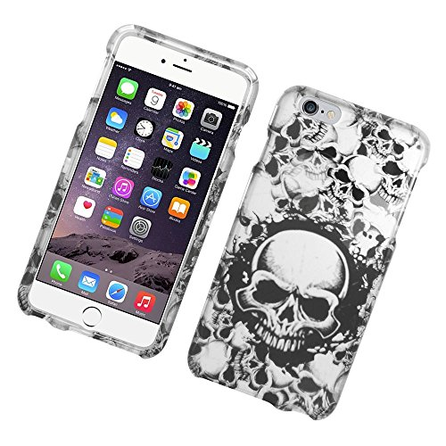 (iPhone 6 Plus/6s Plus Case, Insten Skull with Angel Rubberized Hard Snap-in Case Cover for Apple iPhone 6 Plus/6s Plus, Black/White)