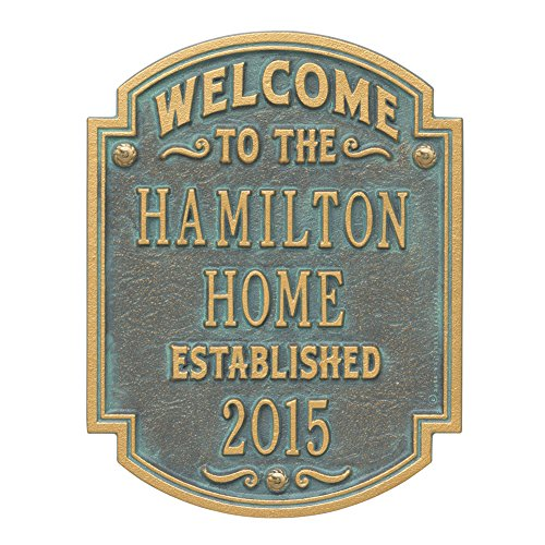 Whitehall Personalized Welcome to Our House Custom Indoor/Outdoor Aluminum Wall Plaque - Verdigris