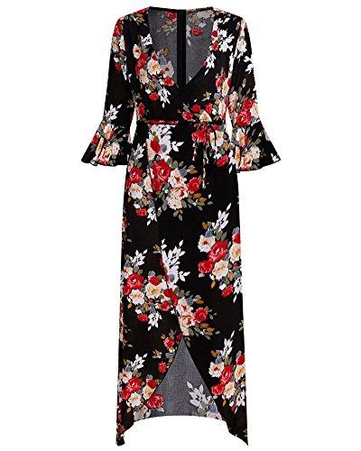 Floral Flowy BeneGreat Dress Bell Plunge Party Wrap Boho Neck Split Red Black Print Women's V Sleeve Maxi qxqPrzF6