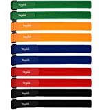 Multi-Purpose Hook and Loop Securing Straps Tie downs Fastening Straps (1''x24'') - Assorted Colors (10)