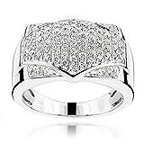 Luxurman 14K Mens Pave Set Ring Unique Natural 1 Ctw Diamonds Band For Him (White Gold Size 9.5)