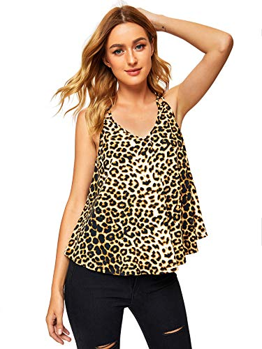 MAKEMECHIC Women's Flowy V Neck Strappy Loose Tank Tops Cami Blouse Leopard M