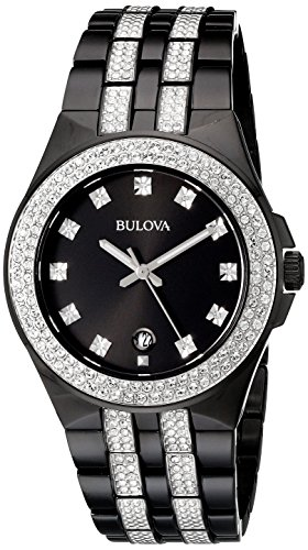 Bulova Men's  98B251 Swarovski Crystal Stainless Steel Watch