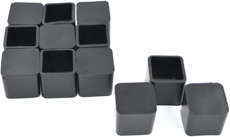 "SpeedDa 3/4 Inch Rubber Square Feet Furniture Table Chair Leg Foot Cover Caps Chair Leg Floor Protectors, Prevent Scratches, Wood Floor Protector 12pcs 3/4"" x 3/4"" Black"