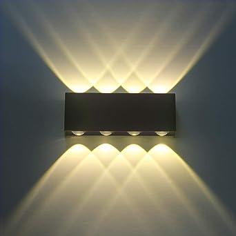 Ultra Applique Murale Interieur Noire LED 8W Lampe Murale Blanc Chaud LE-95