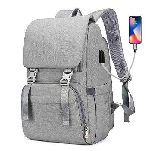 Diaper Bag Backpack, COCOCKA Multifunction Travel Back Pack Maternity Baby Nappy Changing Bags for Mom and Dad, Large Capacity,Grey