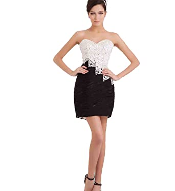 Irregular Black and White Short Lace Prom Dresses Mini Sheath Dance Party Dresses for Women (