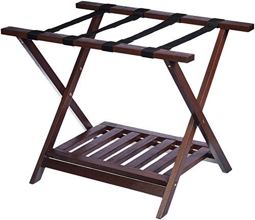 AmazonBasics Wooden Folding Suitcase Luggage Rack Stand with Shelf - -
