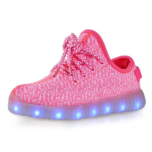 Price comparison product image BLINX Girl's Woven Knit Upper V2 Kids LED Light Up Fashion Shoes Pink 2 M US Little Kid