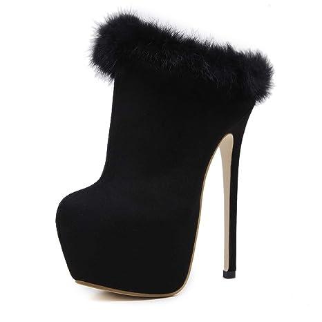 HEmei Botines para Damas, Plataforma Impermeable de tacón Alto Negro Botas de Moda con Cabeza