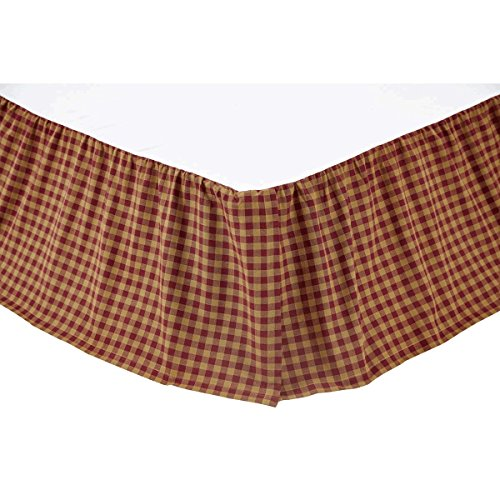 VHC Brands 9468 Burgundy Check Queen Bed Skirt 60x80x16