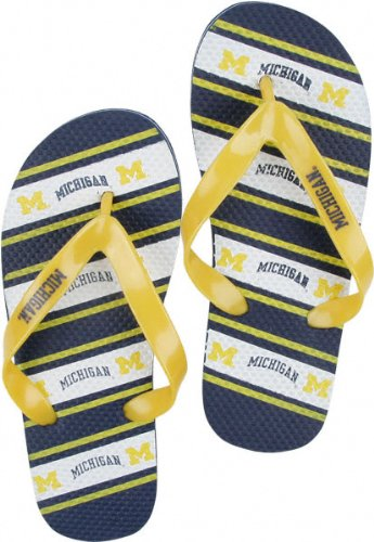 Michigan Wolverines NCAA Unisex Thematic Striped Flip Flops