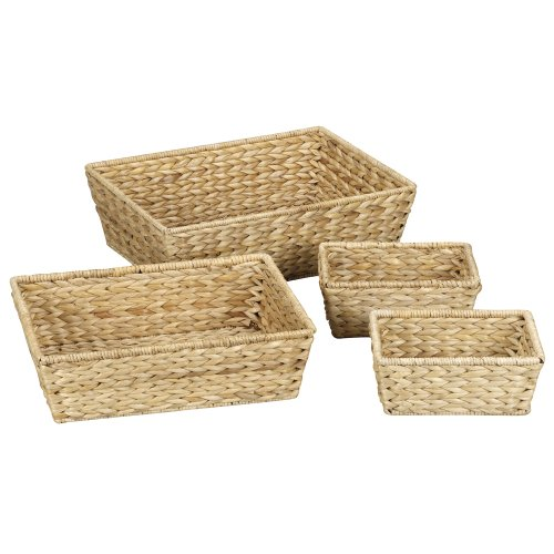Household Essentials ML-6695N Set of 4 Wicker Storage Baskets - Natural Brown (Set Of Wicker Baskets)