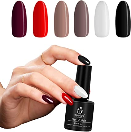 Beetles Black White Red Gel Nail Polish Colors Set Uv Led Required Soak Off Gel Polish Kit Manicure Varnish For All Season Diy At Home