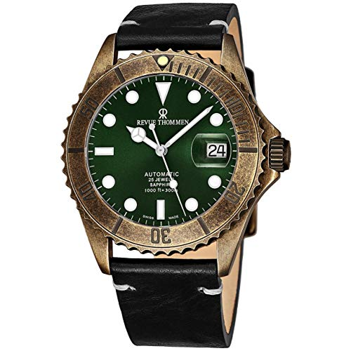 Revue Thommen Men's Diver XL 42mm Black Leather Band Steel Case Automatic Green Dial Watch 17571.2583
