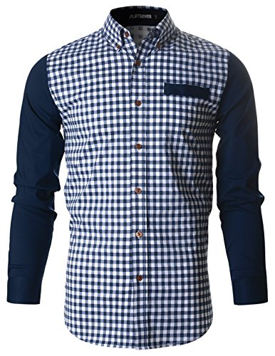FLATSEVEN Mens Casual Gingham Woven Check Plaid Slim Fit Shirt (SH1008) Navy, XL