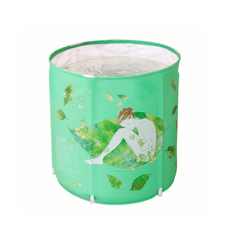 GYZ Folding Plastic Bathtub, Portable freestanding Bathtub, Household Thickened Bathtub, Comfortable Cushion, Detachable, Adult Insulated Bathtub, Baby Swimming, Green Inflatable hot tub