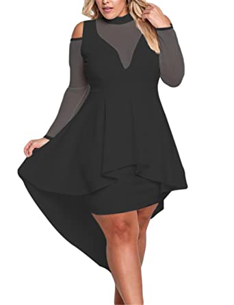 7199b3c9bcdf Women Sexy Plus Size Long Sleeves Keyhole Back Mesh Trim Ruffle High-Low  Peplum Midi Bodycon Dress at Amazon Women's Clothing store: